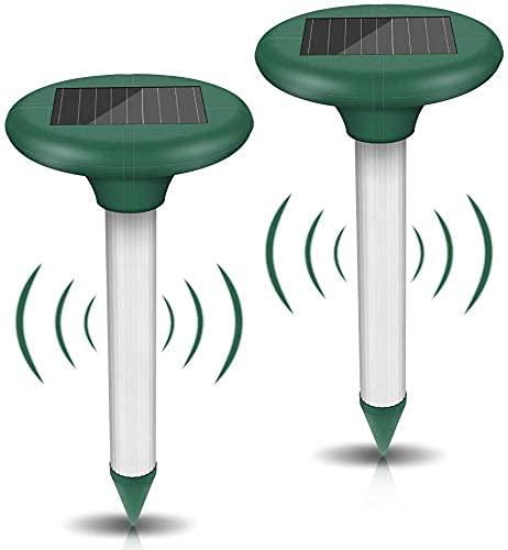 2 Pezzi Solare Repellente, Repellente Solare Ultrasuoni, Repellente per Talpe, Scaccia Talpe Solare, Repeller Solare con Protezione IP65, per Giardino Anti-Talpe, Serpent, Formiche, Arvicole, Roditori