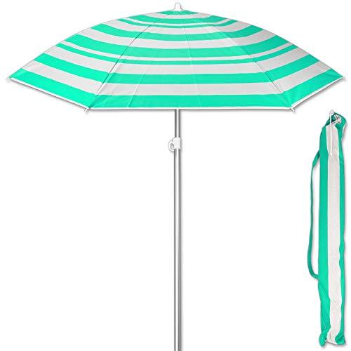 TW24 Sonnenschirm 175 cm mit Farbwahl Strandschirm UV 50+ Sonnenschutz Gartenschirm verstellbar Schirm (Streifen Grün)