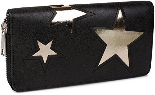 styleBREAKER Geldbörse mit Stern Cutout Muster und Ziernaht, umlaufender Reißverschluss, Portemonnaie, Damen 02040037, Farbe:Schwarz / Stern Gold glänzend