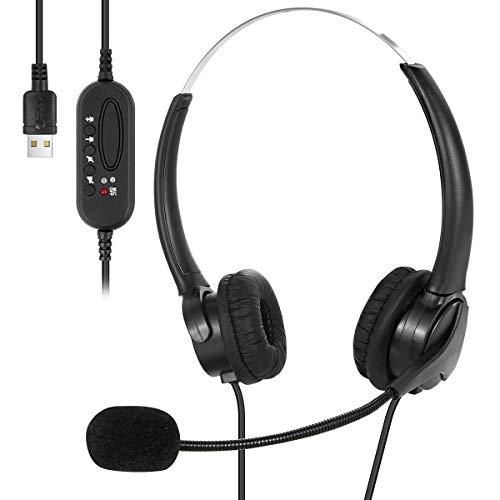 SOONHUA - Auriculares USB con cable y micrófono para ordenador portátil o centro de llamadas