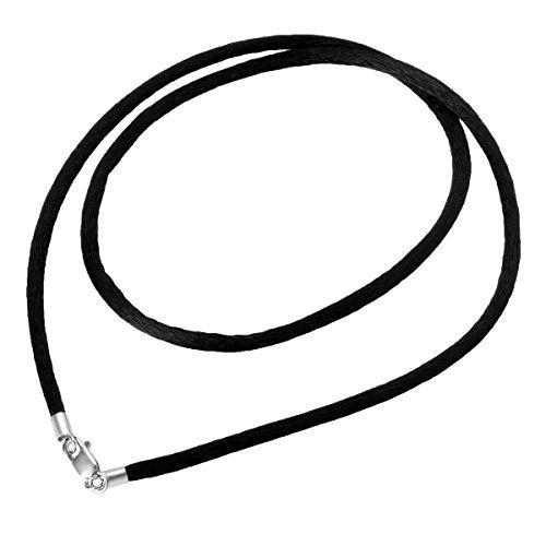 HOUSWEETY Choker/Collier/Ras du Cou Cordon Corde Coton Rond avec Fermoir Argent 925/1000 pour Femme