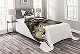 ABAKUHAUS Faultier Tagesdecke Set, Tropical Tier Lächeln, Set mit Kissenbezug Weicher Stoff, für Einselbetten 170 x 220 cm, Elfenbein schwarz