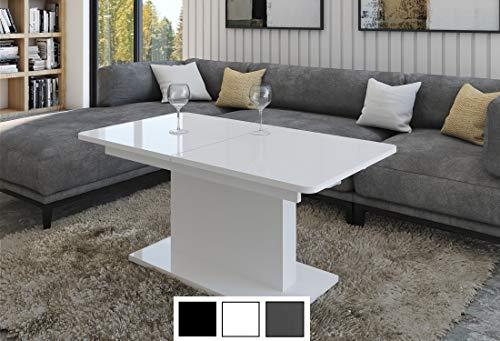 Design Couchtisch Tisch DC-1 Hochglanz stufenlos höhenverstellbar ausziehbar Esstisch (Weiß Hochglanz)