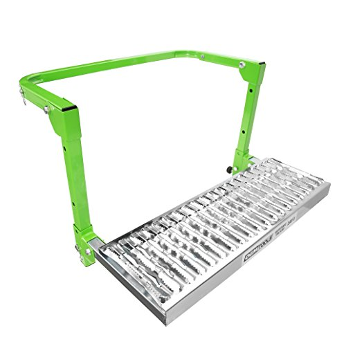 OEMTOOLS 24913B Adjustable Tire Step | Rated up to 300 lbs. | Fits Any Tire from 9 to 13 inches in Diameter | Non-Slip Textured Steel Platform | Green Powder-Coat Finish | Folds for Storage