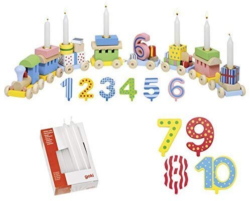 Ameisenkeks ® Set con trenino di compleanno Goki + numeri aggiuntivi + candele set da 10 pezzi