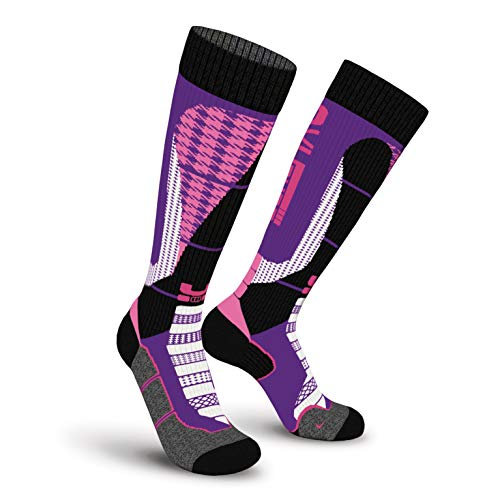 Oxyburn Snowboard 3Style Kneehigh Energizer Chaussettes Homme, Galaxy/Fuxia/White, Size 35/38