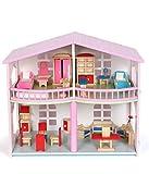 KEIT De Colores Casa de muñecas, Madera Rosa Doble Dream Villa Baby Doll House, Simulación con Luces Play House niña Juguetes for Recuerdos Regalo de cumpleaños Fuerte atracción