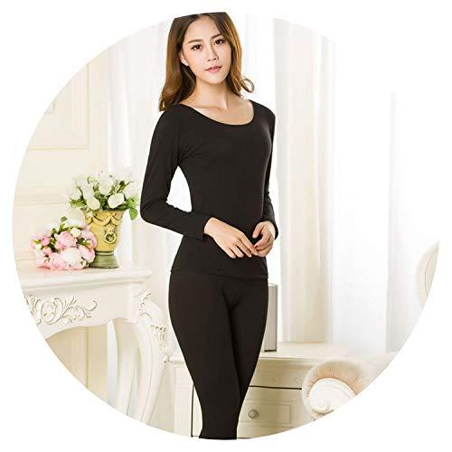 Damen Bekleidung Winter Full Pants Damen Thermounterwäsche Damen Anzüge Weiblich Warm Tuch - schwarz - Einheitsgröße