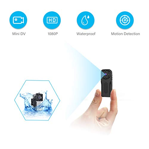 Waterproof Mini Spy Camera, MHDYT 1080P Full HD Portable Small Hidden Camera/Body Camera with Motion Detection and Night Vision, Wireless Security Camera Outdoor/Indoor