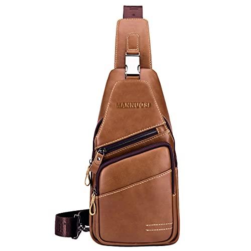 MANNUOSI Uomo chest bag Borse a spalla Vera Pelle Borsa a Tracolla Borse organizer portatutto Borse a mano crossbody sling bag Marrone