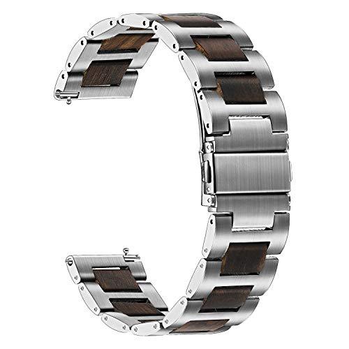 TRUMiRR Kompatibel für Galaxy Watch 46mm Armband, 22mm Edelstahl & Natürliches Holz Sandelholz Uhrenarmband Quick Release Ersatzband für Samsung Gear S3 Frontier, Galaxy Watch 46mm, Huawei Watch GT