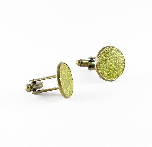 Manschettenknöpfe mit Leder Olive grün in Bronzefarbe