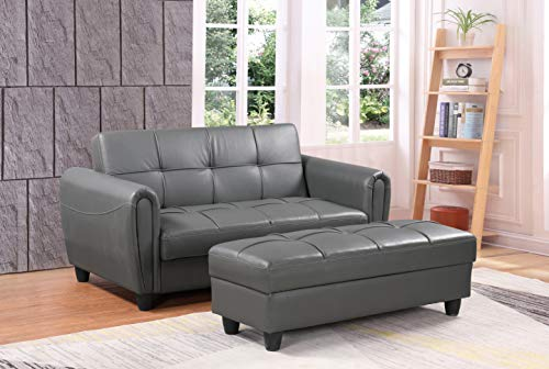 Zinc 2 Seater Sofa Bed with Hidden Storage and Matching Ottoman Bench (Grey)