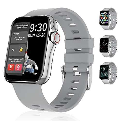 Segorts Smartwatch Fitnesstracker Armbanduhr mit Pulsuhr Blutdruck Tracker Auflösung 320x320 1.6 Zoll Touch Farb Display 3D Dynamik UI Fitness Wasserdicht Sportuhr mit GPS für IOS Android (Silber)