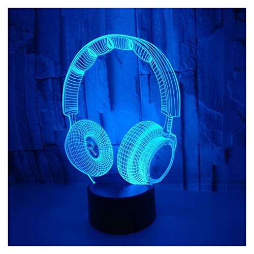 YZL 3D LED Magic Night Light Kids, Headphones Night Light Sleeping Light, 7 Color Touch Button 16 Colors, Fashion (Size : Touch remote control 16 colors)