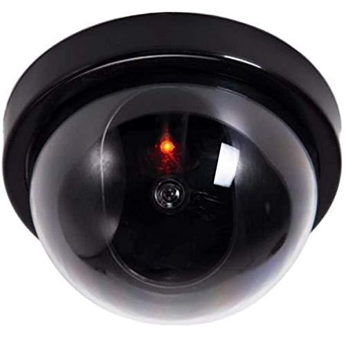 Caméra factice avec objectif, caméra de surveillance factice avec lumière LED rouge, imitation réaliste pour mur, plafond