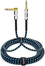 Penker Guitar Instrument Cable 10 Foot,1/4 Inch Right Angle to 1/4 Inch Straight Gold Plated Guitar Cord,Good for Instrument Electric Guitar/Bass/Keyboard with Black Blue