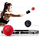 TEKXYZ Boxing Reflex Ball, 2 Difficulty Levels Boxing Ball with Headband, Softer Than Tennis Ball, Perfect for Reaction, Agility, Punching Speed, Fight Skill and Hand Eye Coordination Training