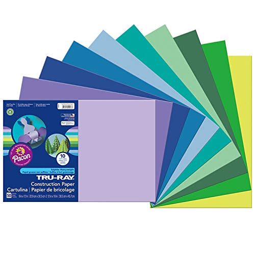 Tru-Ray Heavyweight Construction Paper, Cool Assorted Colors, 12' x 18', 50 Sheets (102943)