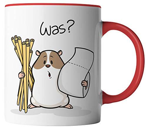 vanVerden Tasse - Hamsterkäufe Klopapier und Nudeln Corona-Virus 2020 COVID-19 - beidseitig Bedruckt - Geschenk Idee Kaffeetassen mit Spruch, Tassenfarbe:Weiß/Rot