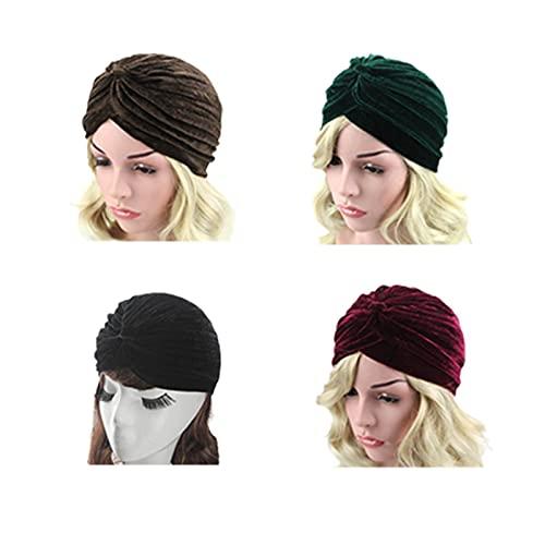 RKRCXH Sombreros Turbante Suaves para Dormir 4 Piezas Sombrero Turbante Estampado Sombrero Sueño Gorro Mujer Envoltura de Turbante
