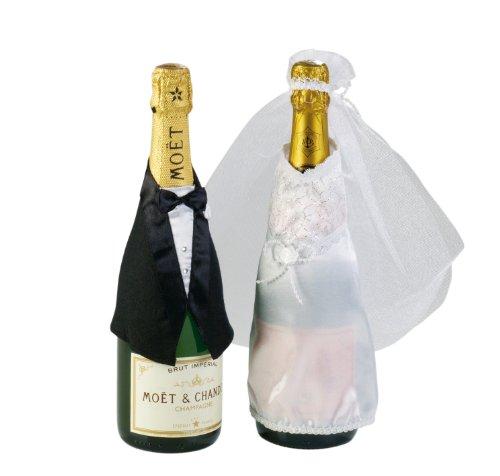 tib 15199 Hochzeitsflaschendekoration, 2-teiliges Set, mehrfarbig, Einheitsgröße