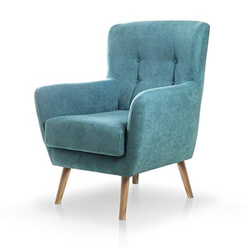 SUENOSZZZ-ESPECIALISTAS DEL DESCANSO Butaca nórdica Izan de una Plaza, sillón tapizado en Tela Antimanchas Color Turquesa