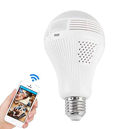 Bombilla Cámara IP WiFi, Cámara de Vigilancia WiFi 360°, Interfaz E27, 960P Cámara Espía IP con Audio Bidireccional, Visión Nocturna, Detección de Movimiento