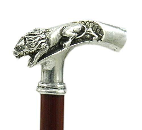 Cavagnini - Löwe: Gehstock aus Buchenholz und Zinn. Handarbeit. braun