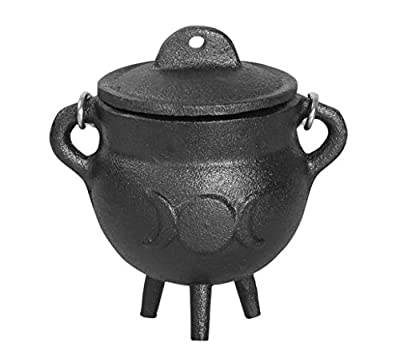 Cauldron -3.5 inch Triple Moon Cast Iron Cauldron with Lid and Handle - Perfect Incense Smudge Kit Sage Holder Altar Ritual Burning Holder