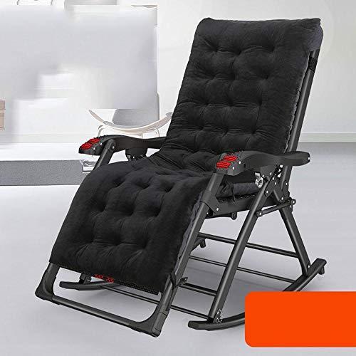 WYNDP Liegestuhl Gartenliege Liegestuhl Heimgebrauch Schaukelstuhl Balkon Liegestuhl Reisen Strandkorb Nickerchen Faul Schaukel Schwarz Rot + Schwarzes Pad_8X8 Teslin (Flachrohr)