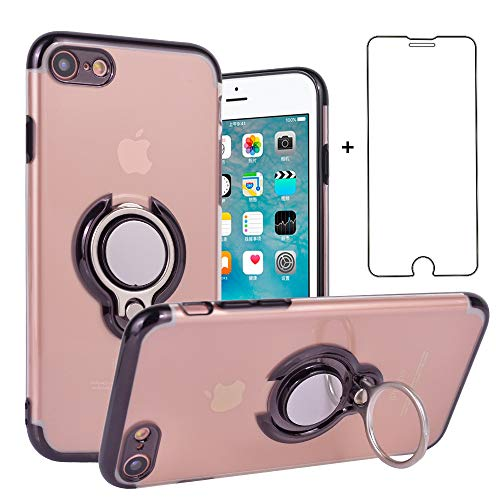 Phone Case for iPhone 8/7/SE 2020 Clear Case with Screen Protector Tempered Glass Magnetic Ring Holder Stand Kickstand Slim Protective Cover Apple iPhone7 iPhone8 iPhoneSE i 7S 8S SE2 i7 i8 Black