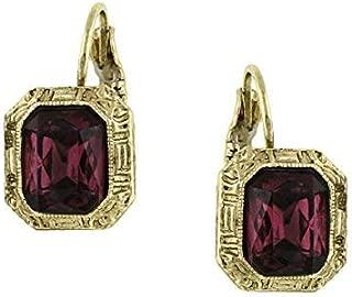 Amethyst-Color Crystal Square Drop Earrings