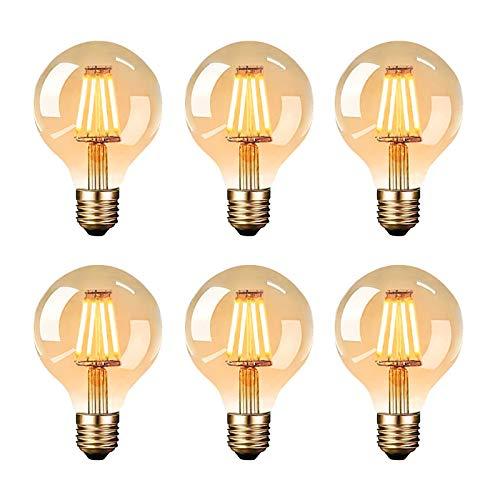 Bombilla LED vintage Edison E27 G80, 4 W, blanco cálido, filamento antiguo,...