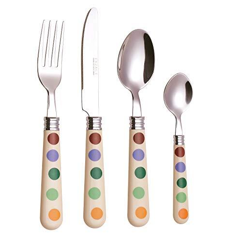 Exzact Tupfen Besteck/edelstahlbesteck mit 16 Stücken - Polka dots. Speisemesser x 4, Speisegabel x 4, Tischlöffel x 4, Teelöffel x 4, Service für 4 - spiegelpoliert