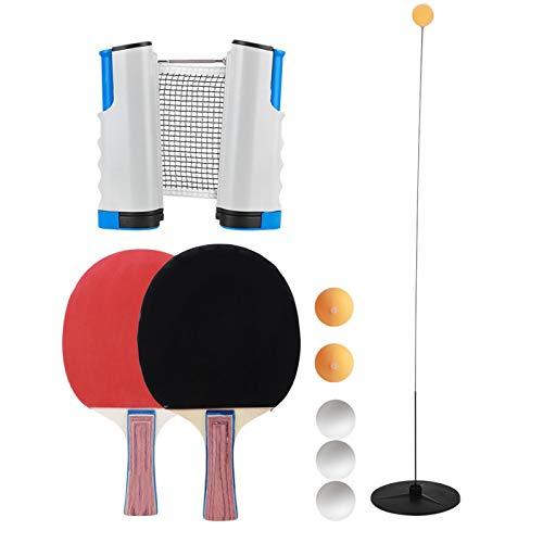 DAUERHAFT Entrenador de Tenis de Mesa de Red de eliminación de Tenis de Mesa Estable portátil para Entrenamiento Deportivo
