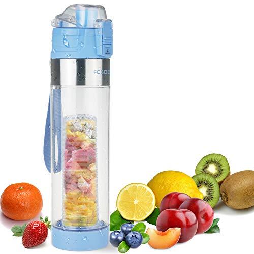 FCSDETAIL Sport Trinkflasche für Fruchtschorlen 700ml, Wasserflasche mit Flaschenbürste, Auslaufsicherer KlappDeckel, BPA-Frei Tritan-Kunststoffflasche mit Infuser und Sieb