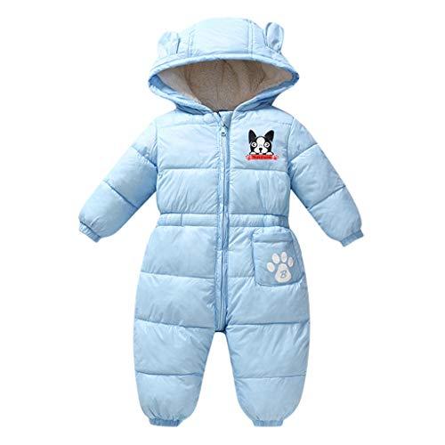 Livoral Baby Winter Even Jacke Warmer mit Kapuze Overall des neugeborenen Babykarikaturwinters starker Overall(Blau,6-12 Monate)