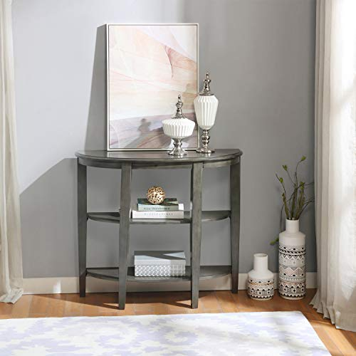 Console Table, 3 Tier Wood Entryway Table, Semi-Circle Sofa Side Table for Hallway, Living Room,...