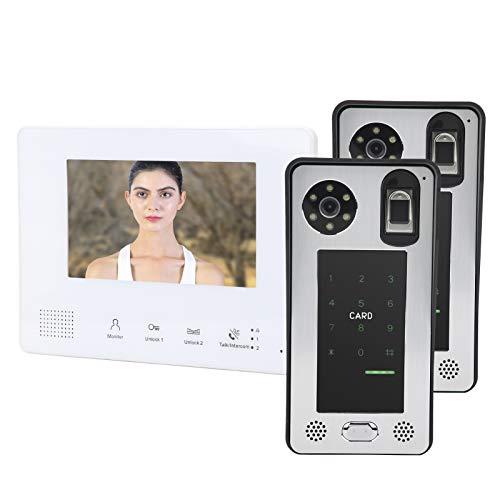 Nunafey Timbre con Video, intercomunicador con Video Inteligente de Alta definición de 100-240 V de 2 Cables, montado en la Pared para Uso residencial para Empresas
