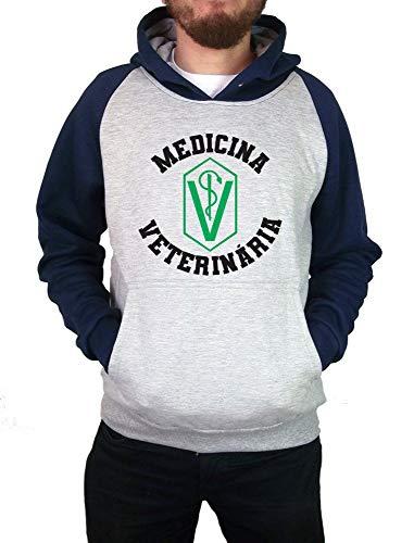 Moletom Canguru Masculino Raglan Universitário Faculdade Medicina Veterinária