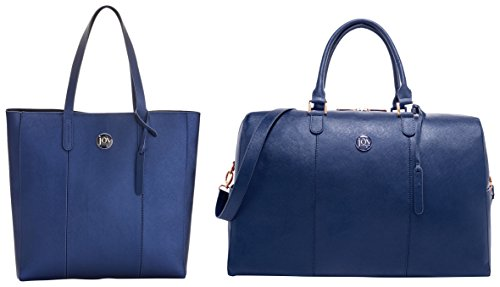 Joy Mangano Women's Tote & Jm Metallic Leather Weekender Combo Navy, One Size