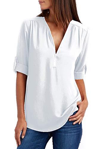Damen Chiffon Blusen Elegante Reißverschluss Langarmshirts Bluse Tunika Oberteile T-Shirt V-Ausschnitt Tops Weiß 5XL