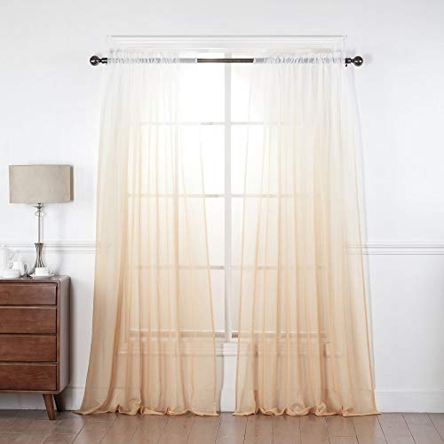 """EHP 2 Piece Faux Linen 2 Tone Sheer Ombre Curtains Rod Pocket Voile, Sheer Curtain Window Treatment Set (White/Yellow, 52"""" X 84"""")"""