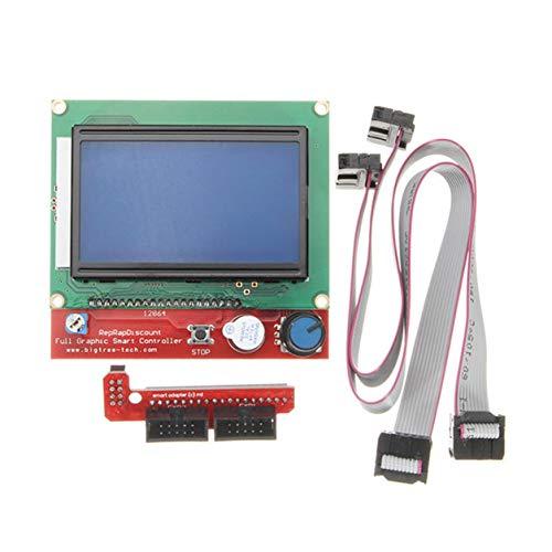 Kongqiabona-UK Controlador de Impresora 3D con Pantalla LCD Digital Inteligente 12864 para RAMPS 1.4