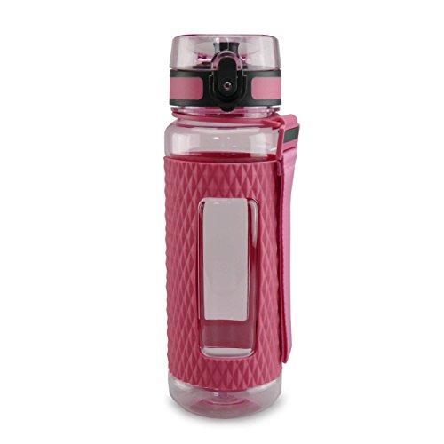 SMARDY Tritan Botella de Agua para Beber Pink - 700ml - de plástico sin BPA - Tapa de un Clic - fácil de Abrir - ecológica - Reutilizable