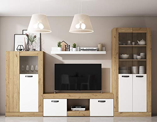 Miroytengo Muebles salón Argos Blanco y Naturale Comedor Moderno (Mesa TV + Vitrina Alta + Vitrina Baja + Estante)