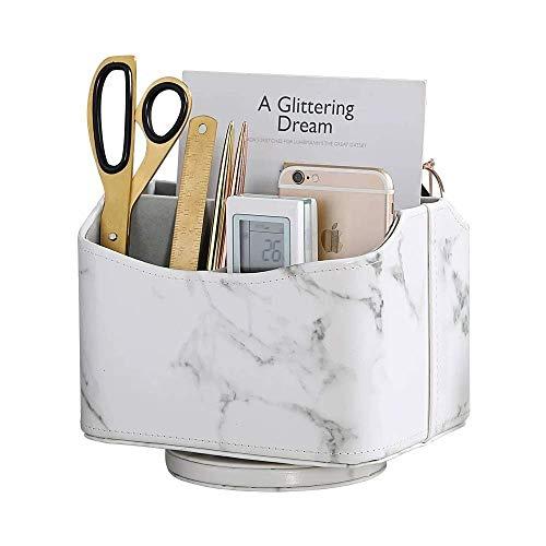 PU-läderförvaringslåda, 360 graders roterbar skrivbord Snygg organisator, snurrande fjärrkontroll/TV-guide/e-post/media Desktop Organizer Caddy Holder (Marble White) (Färg: Vit)