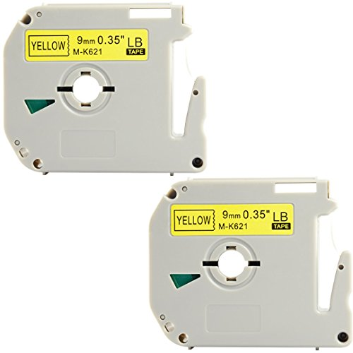Replace MK231 MK 231s M231 0.47 Inch x 26.3 Feet(12mmx 8m),Black on White Label Tapes,Compatible for Brother P-Touch Label Makers PTM95 PT90 PT65 PT80 (9mm Black on Yellow, 2 Pack)