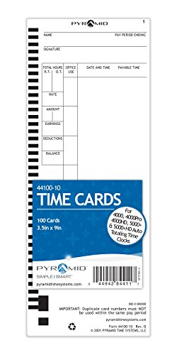 Pyramid 44100-10 Genuine Time Cards for 4000, 4000Pro, 4000HD, 5000 and 5000HD Auto Totaling Time Clocks (Pack of 100)